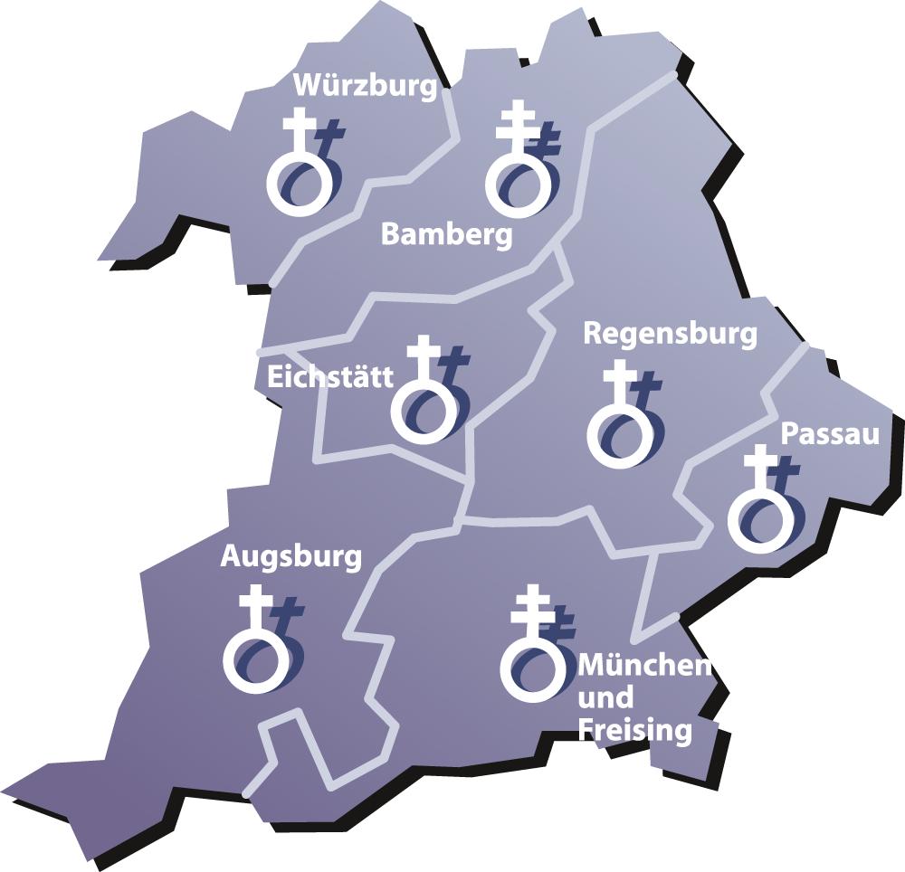 Karte der bayerischen Diözesen